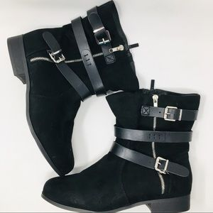 Torrid Black Strappy flats Boots, Size 10.5